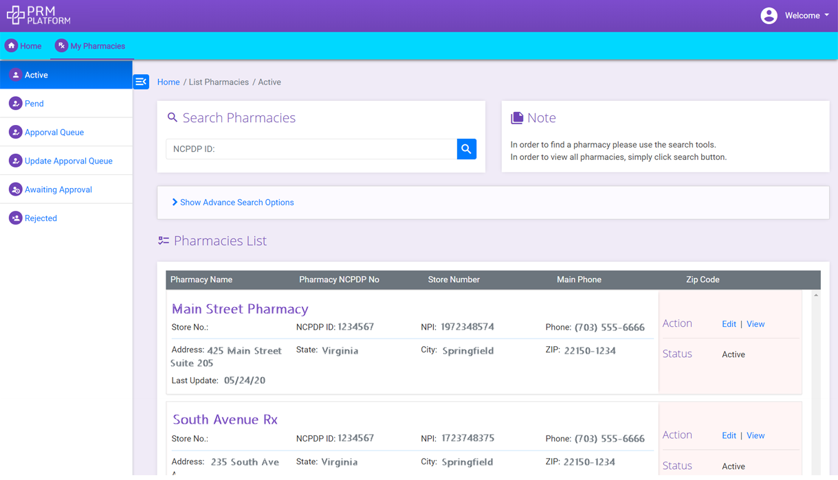Pharmacy Profile Management